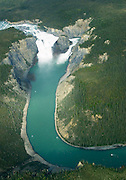 Nahanni River, NWT: August 25, 2006 -- NAHANNI RIVER CANOE TRIP 2006 --  Aerial view of Virginia Falls during a canoe trip down the Nahanni River in the Northwest Territories August 25...Steve McKinley photo.