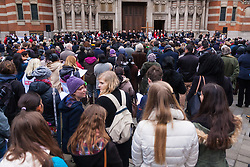 Hundreds of Christians in London take part in the interdenominational Methodist, Anglican and Catholic March of Witness in Westminster. PICTURED: Scores of people follow the proceedings in the piaza outside Westminster Cathedral.