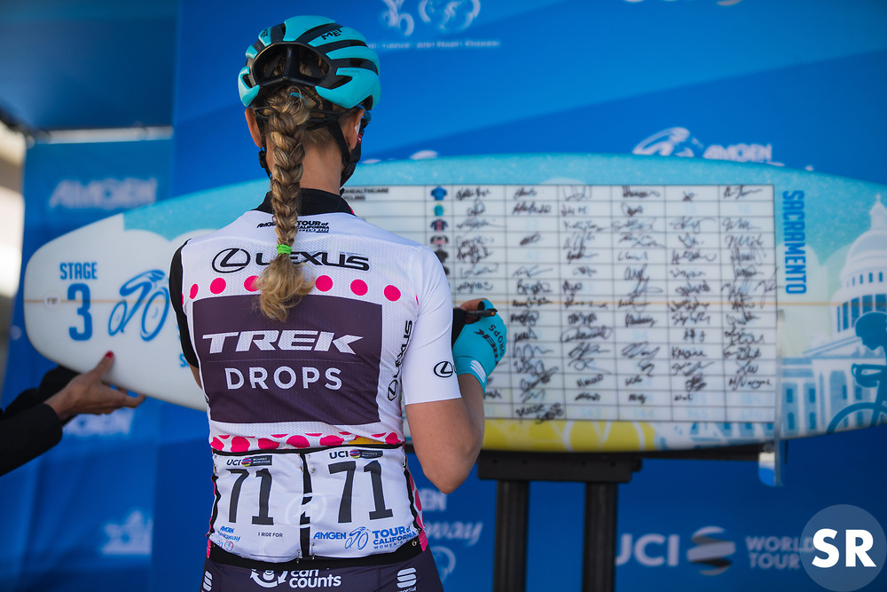 Tayler Wiles (USA) of Trek-Drops Cycling Team of Trek-Drops Cycling Team signs on for Stage 3 of the Amgen Tour of California - a 70 km road race, starting and finishing in Sacramento on May 19, 2018, in California, United States. (Photo by Balint Hamvas/Velofocus.com)