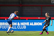 Fliss Gibbons (Brighton) in control of the ball with Erin Cuthbert (Chelsea) watching during the FA Women's Super League match between Brighton and Hove Albion Women and Chelsea at The People's Pension Stadium, Crawley, England on 15 September 2019.