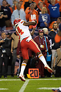 Kansas City Chiefs tight end Demetrius Harris (84) catches a pass for a gain of 35 yards and a first down at the Denver Broncos 11 yard line on a third down play late in the fourth quarter during the NFL week 4 regular season football game against the Denver Broncos on Monday, Oct. 1, 2018 in Denver. The Chiefs won the game 27-23. (©Paul Anthony Spinelli)