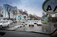 Monochromatic traffic, Tashkent, Uzbekistan.<br /> Picture date: Wednesday March 14, 2018.<br /> Photograph by Christopher Ison &copy;<br /> 07544044177<br /> chris@christopherison.com<br /> www.christopherison.com