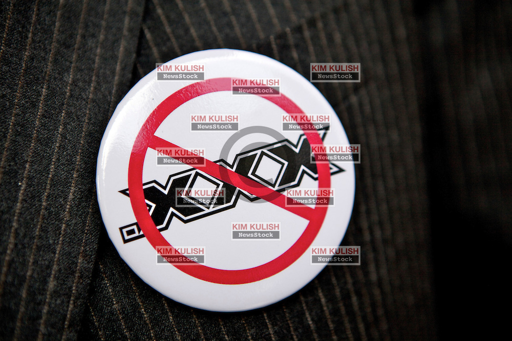 A button worn by members of The Free Speech Coalition, representing the adult industry,  during a protest against the proposed .XXX top-level domain outside the ICANN 40 meetings in San Francisco.  Protestors say the change will cost website operators millions in unnecessary fees and make porn sites easier to block by governments.