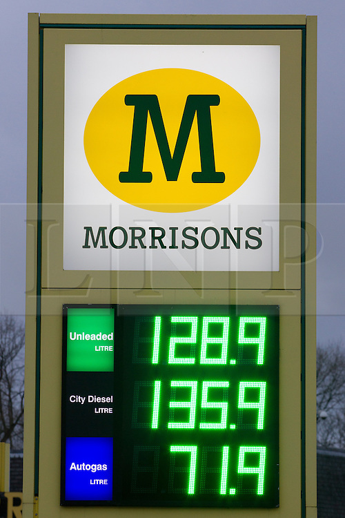 © Licensed to London News Pictures . 03/01/2013 . Oldham , UK . Supermarket chain Morrisons , in Chadderton Greater Manchester , selling diesel for 135.9 pence per litre and unleaded for 128.9 pence per litre . Photo credit : Joel Goodman/LNP
