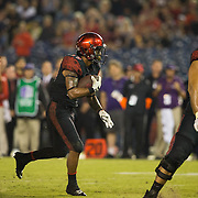 10 September 2016: The San Diego State Aztecs football team hosts Cal in their second game of the season. San Diego State running back Donnel Pumphrey (19) scores on a four yard rush in the fourth quarter. The Aztecs beat Cal 45-40 to keep their win streak at 12 games going back to last season and improve their record to 2-0.
