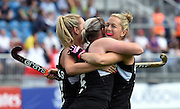 Katie Glynn celebrates a late goal with Stacey Michelsen during a Black Sticks Women v England Semi Final match at the Glasgow National Hockey Stadium. Glasgow Commonwealth Games 2014. Friday 1 August 2014. Scotland. Photo: Andrew Cornaga/www.Photosport.co.nz