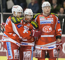 06.01.2013, Stadthalle, Klagenfurt, AUT, EBEL, EC KAC vs Graz99ers, 39. Runde, im Bild Jubel zum Tor von John Lammers (Kac, #20), Florian Iberer (Kac, #48), John Lammers (Kac, #20), Mike Siklenka (Kac, #23) // during the Erste Bank Icehockey League 39th Round match betweeen EC KAC and Graz99ers at the City Hall, Klagenfurt, Austria on 2013/01/06. EXPA Pictures © 2013, PhotoCredit: EXPA/ Mag. Gert Steinthaler