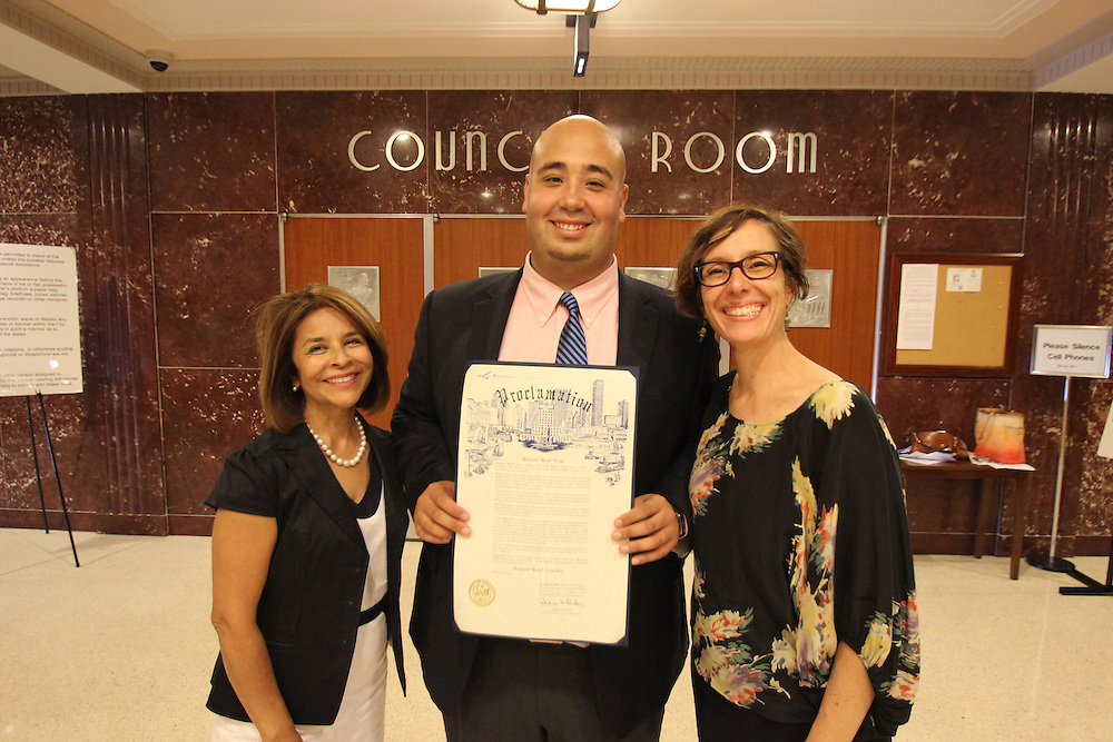 Richard Cruz is awarded the mayor's Hispanic Heritage Award on Sept. 25, 2012