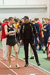 Boston University Terrier Invitational Indoor Track Meet: Coach Alberto Salazar instructs Galen Rupp, Oregon Project, Mens Elite Mile