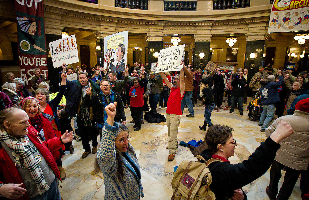 MADISON, WI — FEBRUARY 24: Workers, labor unions, and supporters rallied in the Rotunda of the Wisconsin State Capitol in opposition to a right-to-work bill being discussed in the state legislature on Tuesday, February 24.