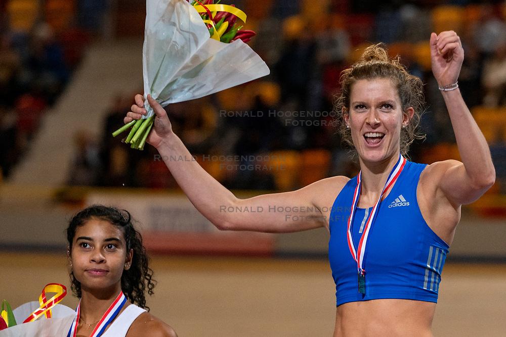 Killiana Heymans second, Femke Pluim first on pole vault during the Dutch Indoor Athletics Championship on February 23, 2020 in Omnisport De Voorwaarts, Apeldoorn