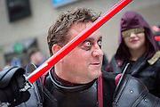 UNITED KINGDOM, London: 23 October 2015 A cosplay fan at the 2015 MCM London Comic Con which is being held at London's ExCel Arena. The event will be host to more than 110,000 comic con fans and cosplay enthusiasts over the weekend. Rick Findler / Story Picture Agency