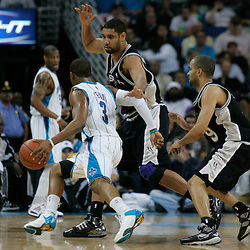 29 March 2009: San Antonio Spurs center Tim Duncan (21) guards New Orleans Hornets guard Chris Paul (3) during a 90-86 victory by the New Orleans Hornets over Southwestern Division rivals the San Antonio Spurs at the New Orleans Arena in New Orleans, Louisiana.