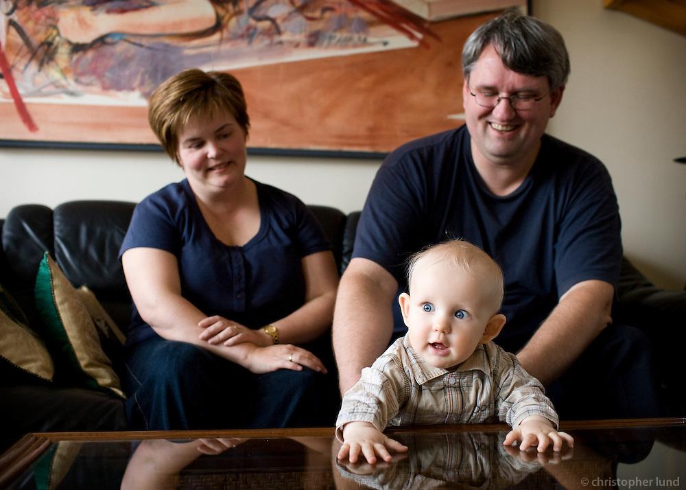 Edda Björk Viðarsdóttir (36) and Brynjólfur Hjartarson (38) at home with their son Birkir which is 9 months old.