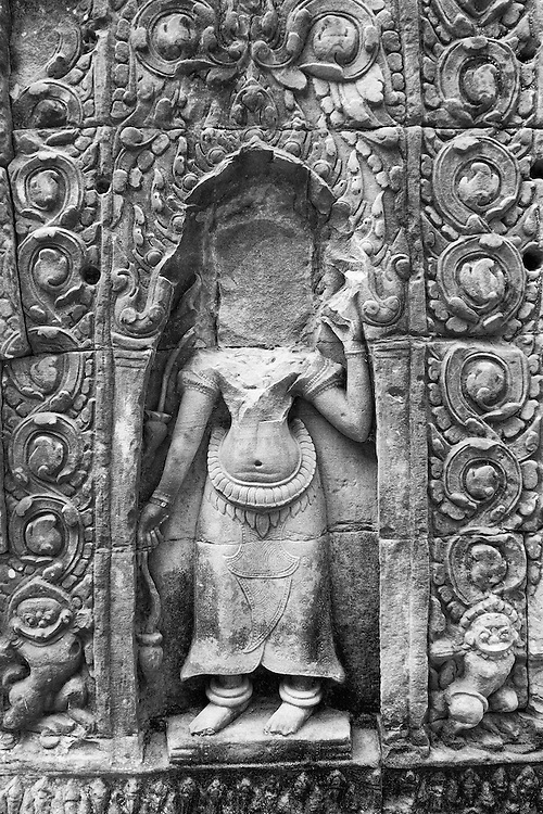 Headless Stone Carvings in Preah Khan Temple of Siem Reap, Cambodia
