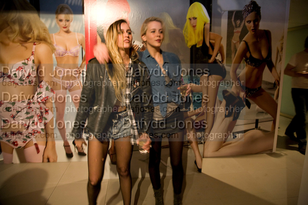 ALICE DELLAL  AND LAURA FRASER , A very Private Affair, Agent Provocateur in association with arena magazine. Spring/Summer collection party. Louise T. Blouin Foundation. 3 Olaf St. London. 1 April 2008. *** Local Caption *** -DO NOT ARCHIVE-© Copyright Photograph by Dafydd Jones. 248 Clapham Rd. London SW9 0PZ. Tel 0207 820 0771. www.dafjones.com.