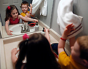 Evan Costik, 6, and his sister Sarah, 8, wash their hands before dinner at their home in Livonia, N.Y. on August 27, 2014.<br /> <br /> Evan has type 1 diabetes, and his father, John, modified a continuous glucose monitor and an Android smartphone to provide constant updates on Evan's blood sugar remotely. CREDIT: Mike Bradley for the Wall Street Journal<br /> MEDIHACK