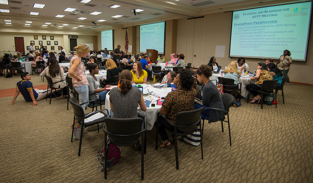 Houston ISD campus staff participate in Academic Parent Teacher Team (APTT) training at the Boy Scouts of America Cockrell Center, August 13, 2014.