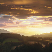 Sunset over Lochlane, Strathearn valley from Crieff, Perthshire