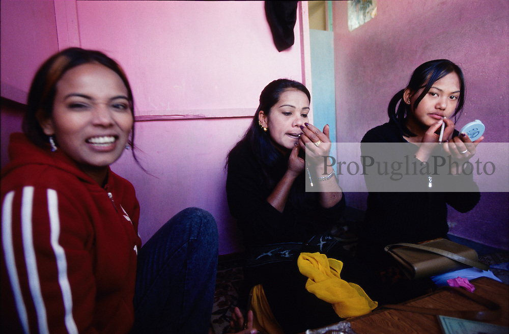 Young women getting ready in a local restaurant of Kathmandu...Since the King has declared state of emergency on the 1st of February, the number of foreign tourists, visiting Nepal, is droping down.