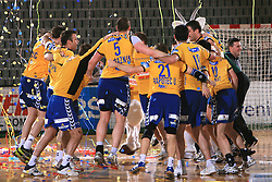 Players of Koper celebrate at Final match of Slovenian Men Handball Cup between RK Cimos Koper and RK Celje Pivovarna Lasko, on April 19, 2009, in Arena Bonifika, Koper, Slovenia. Cimos Koper won 24:19 and became Slovenian Cup Champion. (Photo by Vid Ponikvar / Sportida)