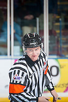 KELOWNA, CANADA - DECEMBER 7: Referee Brett Iverson officiates the game between the Kelowna Rockets and the Seattle Thunderbirds on December 7, 2016 at Prospera Place in Kelowna, British Columbia, Canada.  (Photo by Marissa Baecker/Shoot the Breeze)  *** Local Caption ***