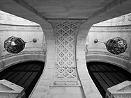 Architectural detail at the entrance of the New York Public Library on Fifth Avenue and 42nd street  in New York City