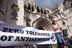 "Royal Courts of Justice, London,  August 31st 2014. Jewish activist Mandy Blumenthal speaks as thousands of Jews and their supporters from London and across the UK demand ""Zero Tolerance for Antisemites"", organised by the Campaign Against Antisemitism."