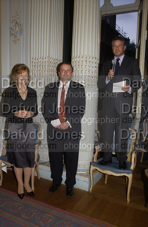 Flora Fraser, Roland Philipps and Peter Soros, Flora Fraser launch party for her book ' Princesses the Daughters of George 111' the Savile club, Brook St. 14 September 2004. SUPPLIED FOR ONE-TIME USE ONLY-DO NOT ARCHIVE. © Copyright Photograph by Dafydd Jones 66 Stockwell Park Rd. London SW9 0DA Tel 020 7733 0108 www.dafjones.com