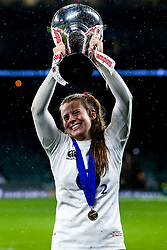 Zoe Harrison of England Women celebrates winning the Women's Six Nations and Grand Slam - Mandatory by-line: Robbie Stephenson/JMP - 16/03/2019 - RUGBY - Twickenham Stadium - London, England - England Women v Scotland Women - Women's Six Nations