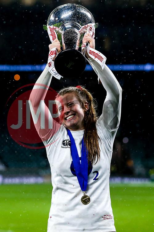 Zoe Harrison of England Women celebrates winning the Women's Six Nations and Grand Slam - Mandatory by-line: Robbie Stephenson/JMP - 16/03/2019 - RUGBY - Twickenham Stadium - London, England - England Women v Scotland Women - Women's Six Nations