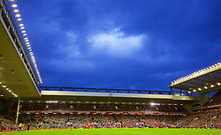 LIVERPOOL, ENGLAND - Boxing Day, Saturday, December 26, 2015: Rain clouds over Anfield during the Premier League match between Liverpool and Leicester City. (Pic by David Rawcliffe/Propaganda)