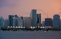MIAMI, FLORIDA - CIRCA SEPTEMBER 2017: View of Downtown Miami, the Miami Seaport and Biscayne Bay at Sunset