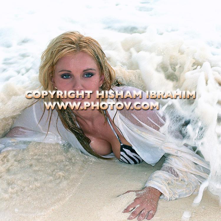Sexy Blonde Young Woman in a bikini, Cancun - Mexico