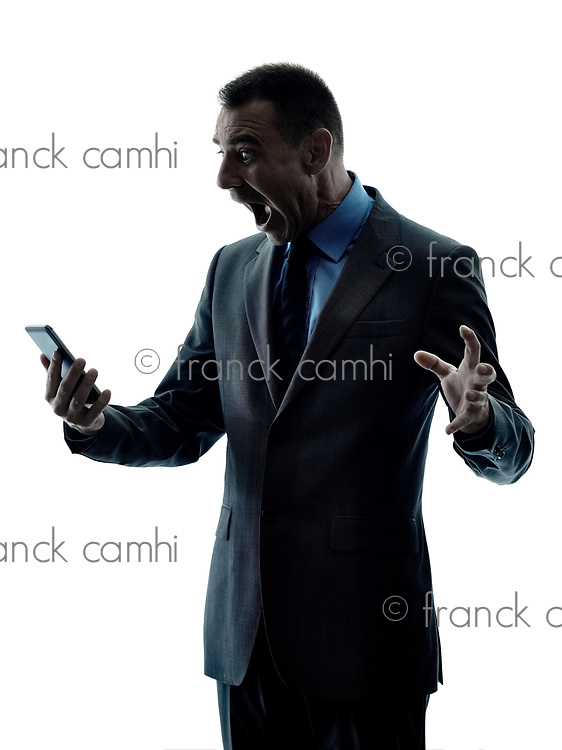 one caucasian business man using telephone silhouette isolated on white background