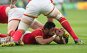 Twickenham, Great Britain,  Wales No. 8. Taulupe FALETAU, after placing the ball, for Gareth Davies to use, during the Quarter Final 1 game, South Africa vs Wales.  2015 Rugby World Cup,  Venue, Twickenham Stadium, Surrey, ENGLAND.  Saturday  17/10/2015.   [Mandatory Credit; Peter Spurrier/Intersport-images]