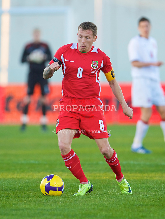 VILA REAL DE SANTO ANTONIO, PORTUGAL - Wednesday, February 11, 2009: Wales' captain Craig Bellamy in action against Poland during the International Friendly match at the Vila Real de Santo Antonio Sports Complex. (Mandatory credit: David Rawcliffe/Propaganda)