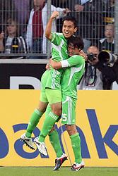19.08.2011,  BorussiaPark, Mönchengladbach, GER, 1.FBL, Borussia Mönchengladbach vs Vfl Wolfsburg, im Bild.Torjubel / Jubel  nach dem 0:1 durch Makoto Hasebe (Wolfsburg #13) (L) mit Christian Träsch / Traesch (Wolfsburg #15) (R) ..// during the 1.FBL, Borussia Mönchengladbach vs Vfl Wolfsburg on 2011/08/19, BorussiaPark, Mönchengladbach, Germany. EXPA Pictures © 2011, PhotoCredit: EXPA/ nph/  Mueller *** Local Caption ***            ****** out of GER / CRO  / BEL ******