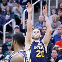 25 January 2016: Utah Jazz forward Gordon Hayward (20) takes a jump shot during the Detroit Pistons 95-92 victory over the Utah Jazz, at the Vivint Smart Home Arena, Salt Lake City, Utah, USA.