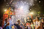 Henham Park, Suffolk, 21 July 2019. Bubbles Inc entertains late into the night. The 2019 Latitude Festival.