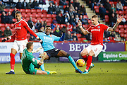 Charlton Athletic goalkeeper Declan Rudd (1) makes a save against Fleetwood Town striker Devante Cole (44) during the EFL Sky Bet League 1 match between Charlton Athletic and Fleetwood Town at The Valley, London, England on 4 February 2017. Photo by Andy Walter.