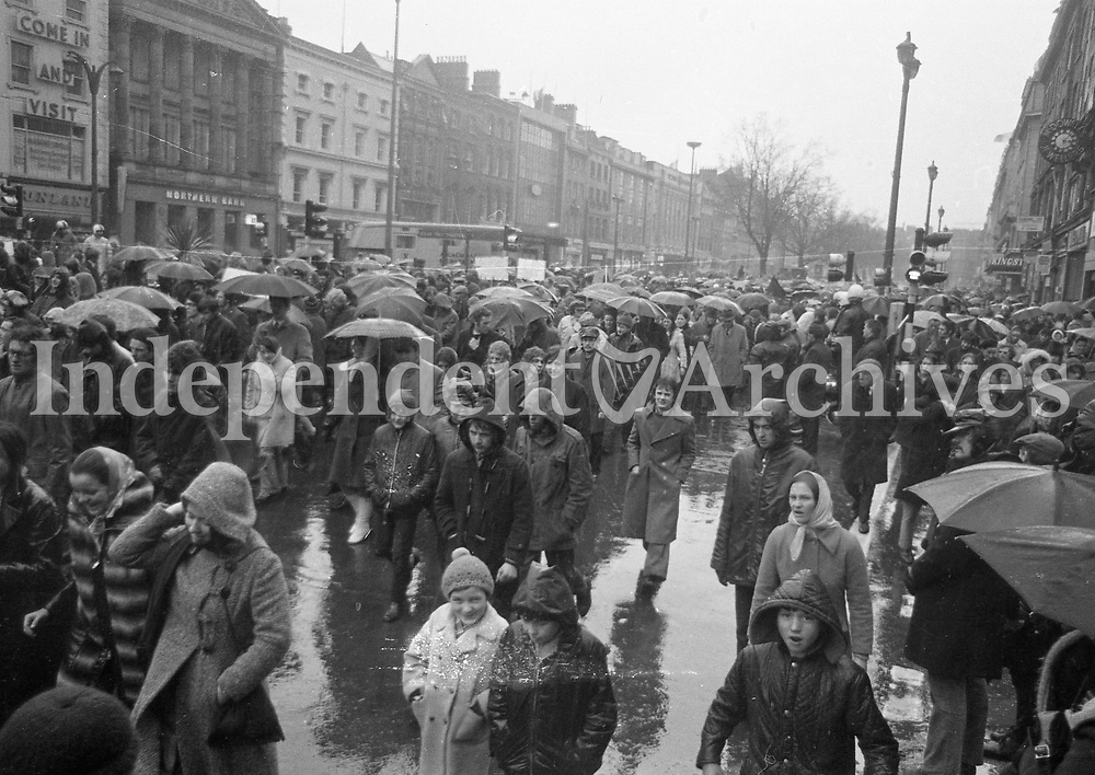 March in Dublin the day after the protest at the British Embassy on Merrion Square following  Bloody Sunday. Feb 1972. (Part of the Independent Newspapers/NLI Collection)