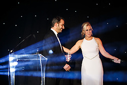 Adam Norris, father of Bristol Sport Racing Driver Lando, is brought up on stage by Lisa Knights at Bristol Sport's Annual Gala Dinner at Ashton Gate Stadium - Mandatory byline: Rogan Thomson/JMP - 08/12/2015 - SPORT - Ashton Gate Stadium - Bristol, England.