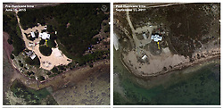 September 11, 2017 - Key West, Florida, U.S - Before and After damage from Hurricane Irma. Elevated water levels during Hurricane Irma overtopped the seawall and transported sand landward, covering the vegetation in Spanish Harbor Key. (Credit Image: © USGS/ZUMA Wire/ZUMAPRESS.com)