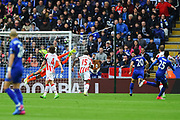 Leicester City midfielder Wilfred Ndidi (25) scores a goal to make it 1-0 during the Premier League match between Leicester City and Stoke City at the King Power Stadium, Leicester, England on 1 April 2017. Photo by Jon Hobley.