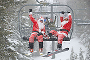 Santa Ski day at Mt. Rose Ski Tahoe during the Reno santa pub crawl 2009.