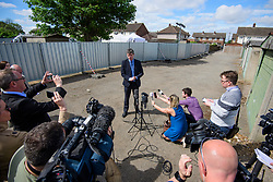 © Licensed to London News Pictures. 16/05/2017. London, UK. ACC Steve Worron from the Kent and Essex Serious Crime Directorat, giving a statement to media at the scene. Police continue to search for the body of murdered schoolgirl Danielle Jones at a block of garages  in Stifford Clays in Thurrock, Essex. The 15-year-old was last seen on Monday June 18 2001 at about 8am when she left her home in East Tilbury to catch the bus to school.  Photo credit: Ben Cawthra/LNP