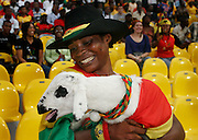 Fans celebrate with goat  Ghana's victory over Morocco.  Ghana V Morocco. African Cup of Nations 2008. Ohene Djan Stadium. Accra. Ghana. West Africa..28th January 2008..©Picture Zute Lightfoot.  07939 108077. www.lightfootphoto.co.uk