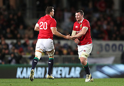 British and Irish Lions' Sam Warburton (left) is brought on as a replacement for Peter O'Mahony during the first test of the 2017 British and Irish Lions tour at Eden Park, Auckland.
