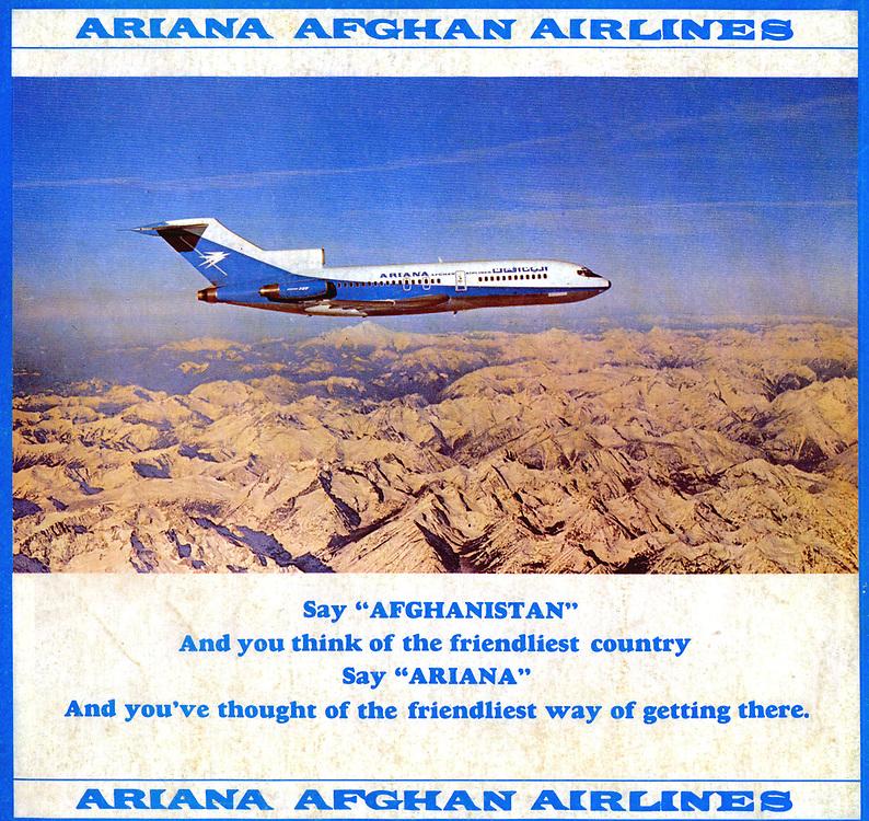AFGHANISTAN historisch - 1977 <br />Werbeanzeige f&uuml;r die Afghanische Fluggesellschaft<br />ARIANA AFGHAN AIRLINES ...<br />copyright : AFGHAN TOURIST ORGANIZATION
